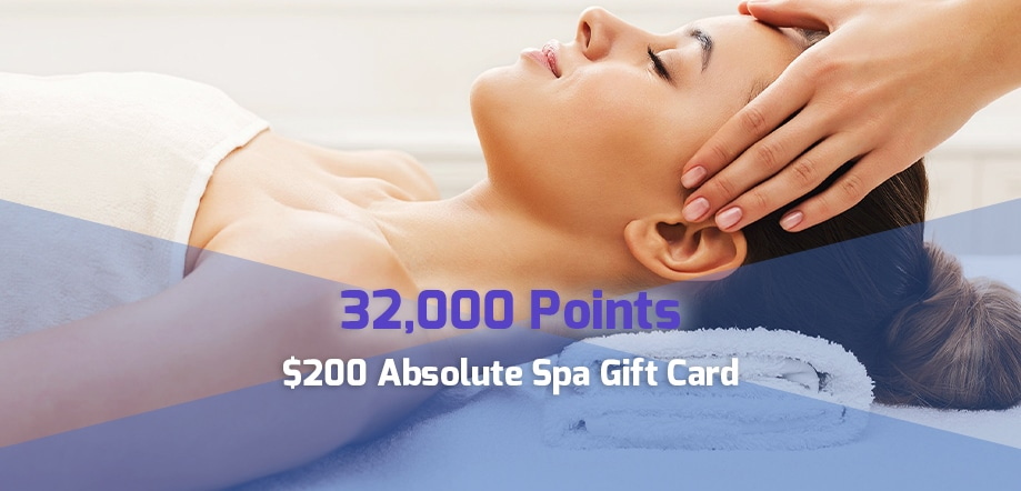 32,000 point reward: $200 Absolute Spa gift card for corporate travel points
