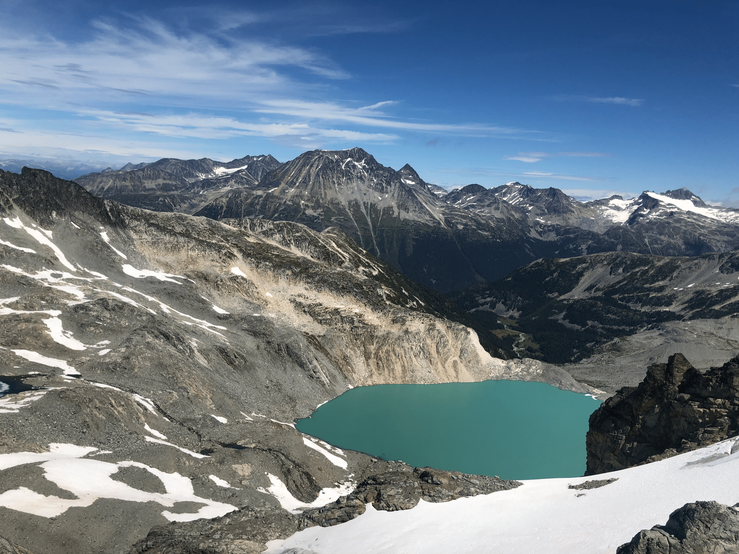 Blackcomb peak surrounded by lakes and mountains. Why worry about U.S. restriction extensions