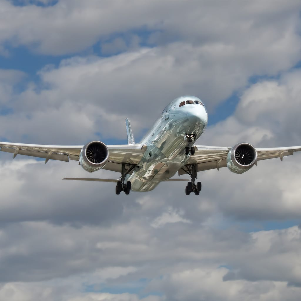 Silver airplane
