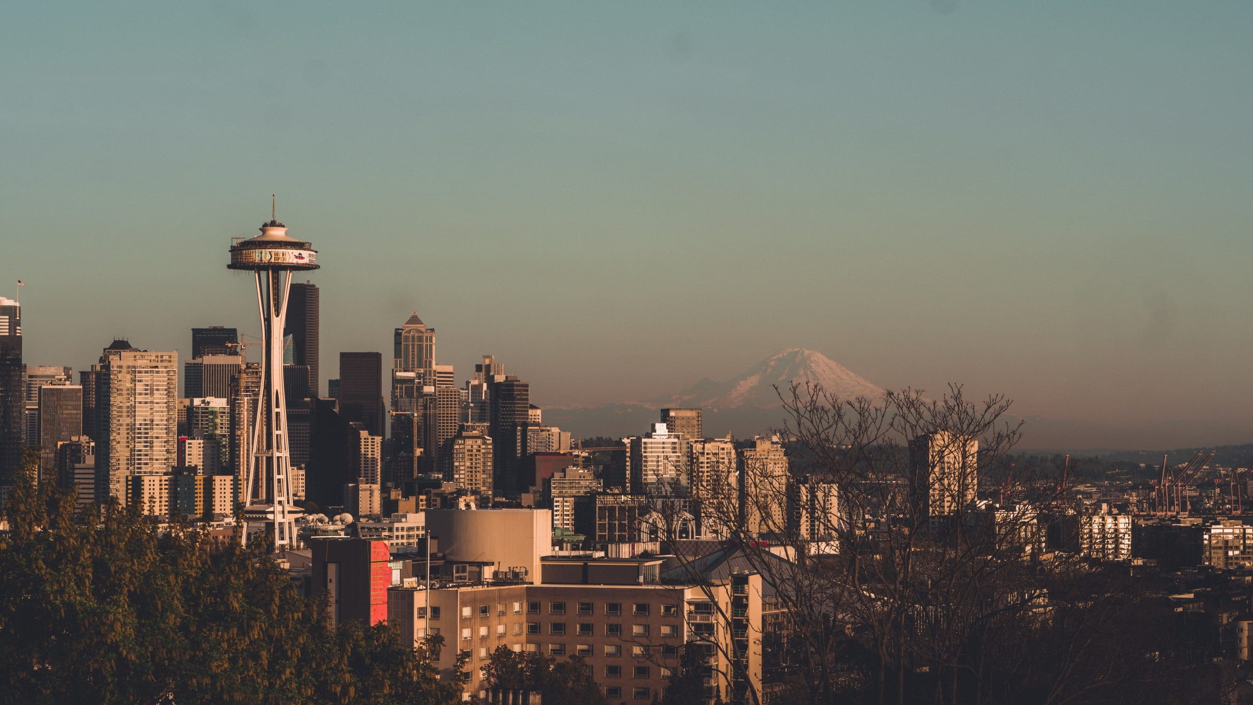 Seattle with snow capped rockies in the background as U.S. opens land border November 8