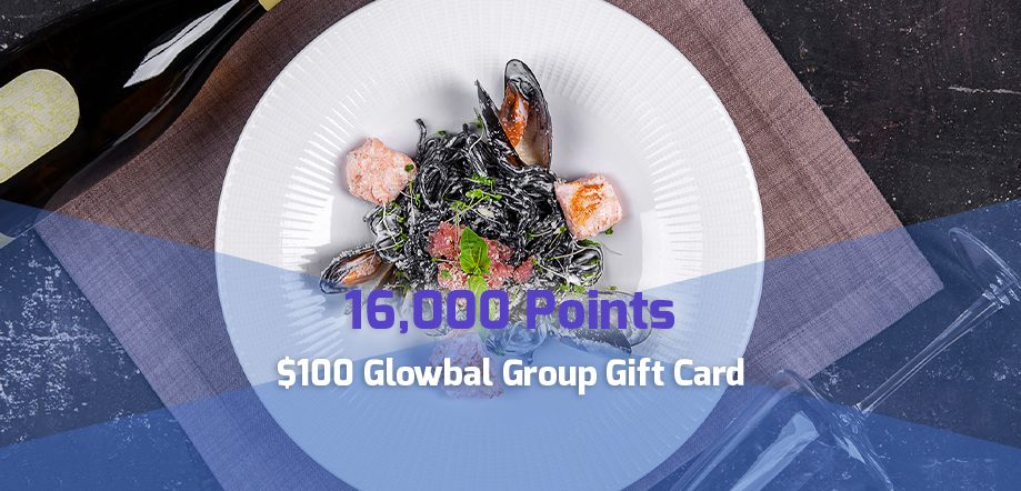 16,000 point reward: $100 Glowbal Group gift card for corporate travel points